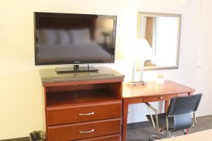 Flat Screen TV and Work Desk at HOTEL EREAL